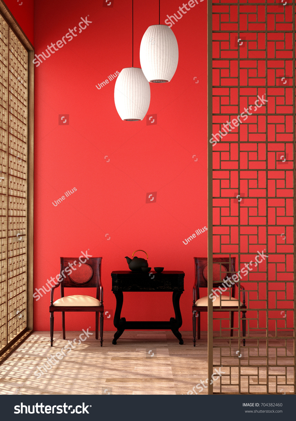 Interior Design Chinese Style Living Area Stock Illustration 704382460