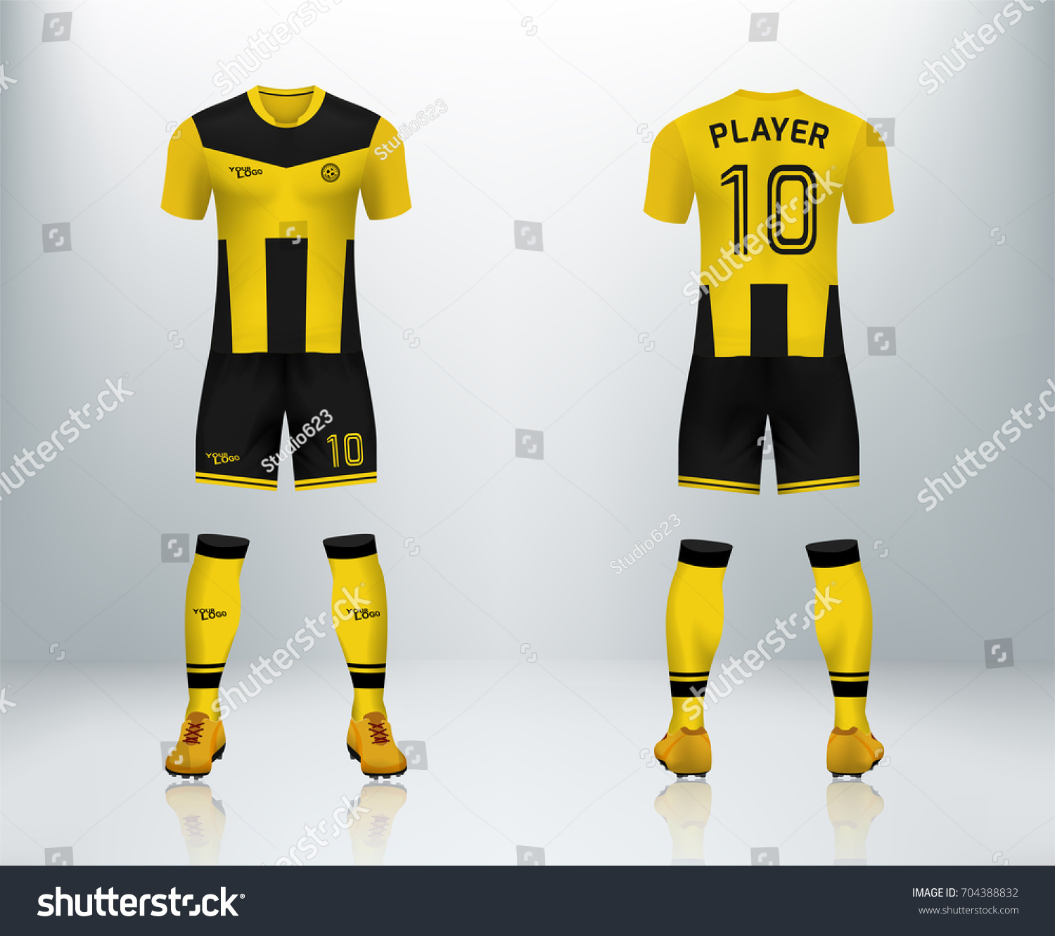 9acca640d1c 3D realistic of font and back of yellow soccer jersey shirt with pants and  soccer socks