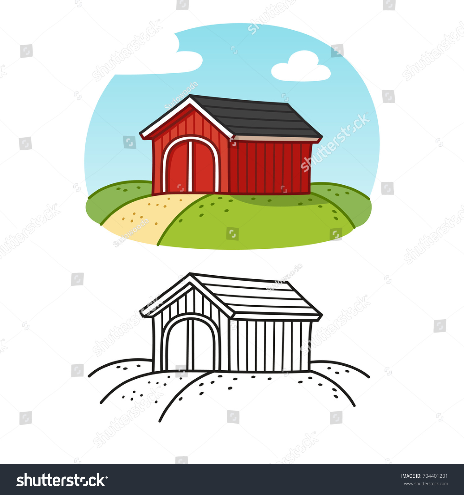 Traditional Red Wooden Barn Colored Drawing And Line Art Classic American Farm Building Illustration