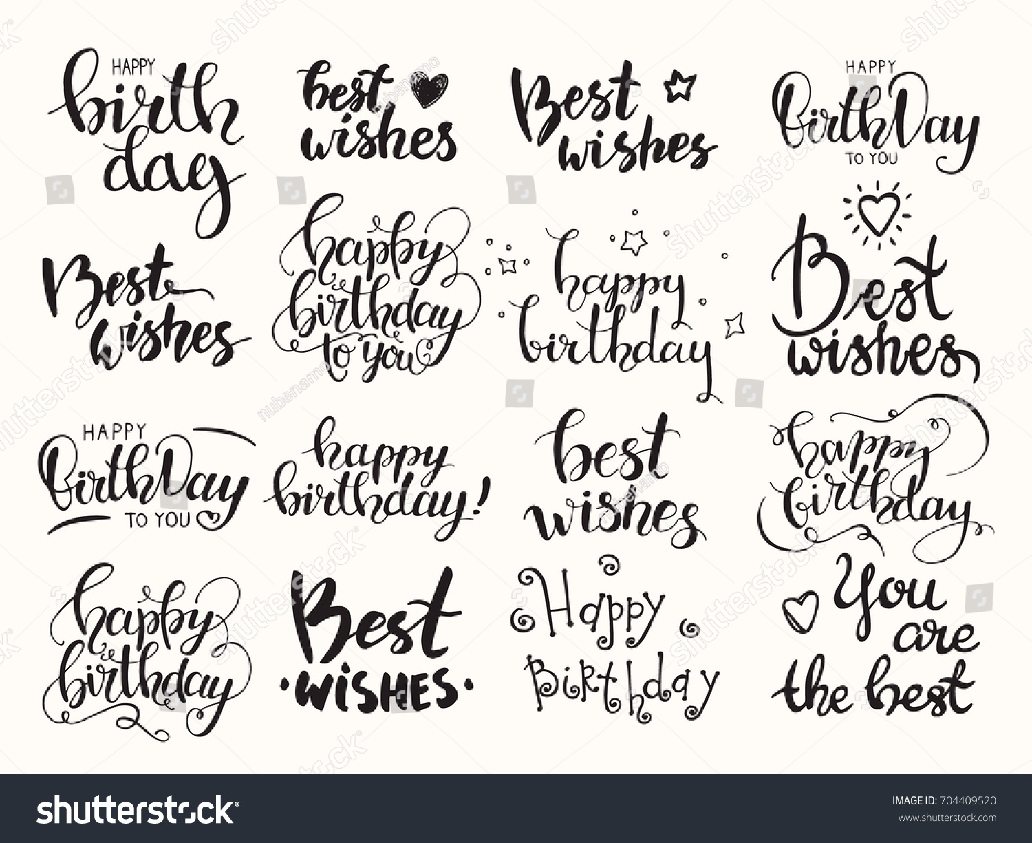Happy birthday sign in elegant black script type with ornament - Happy Birthday Best Wishes Handwritten Modern Brush Lettering Made With Ink Big Artistic