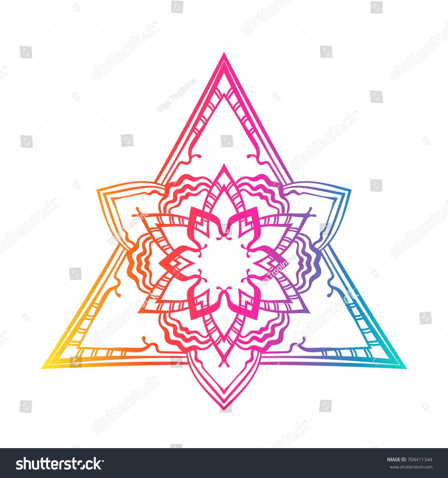 Vector Lotus Flower Mandala Triangle Pyramid Stock Vector Royalty