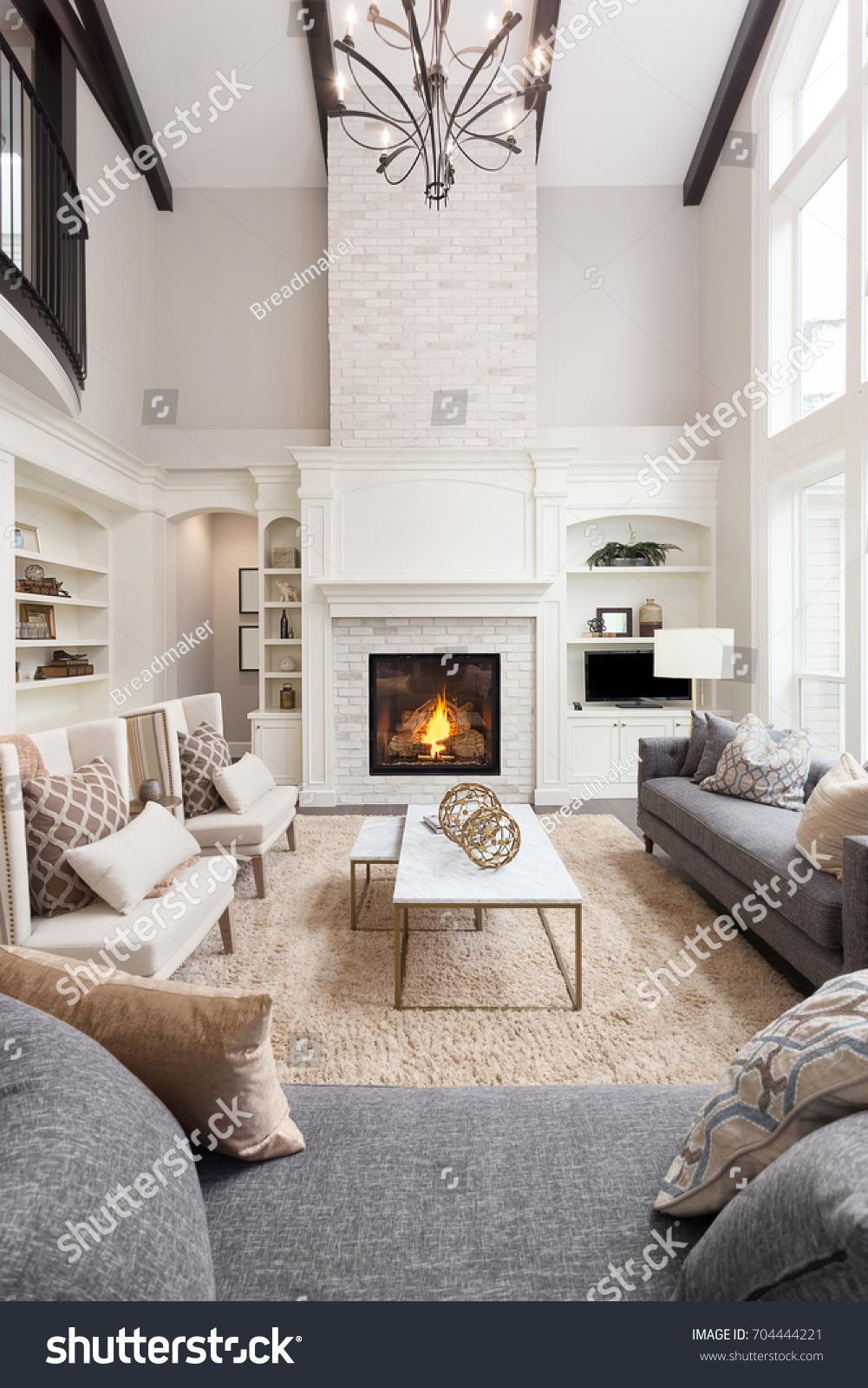Beautiful Living Room Interior Hardwood Floors Stock Photo (Royalty ...