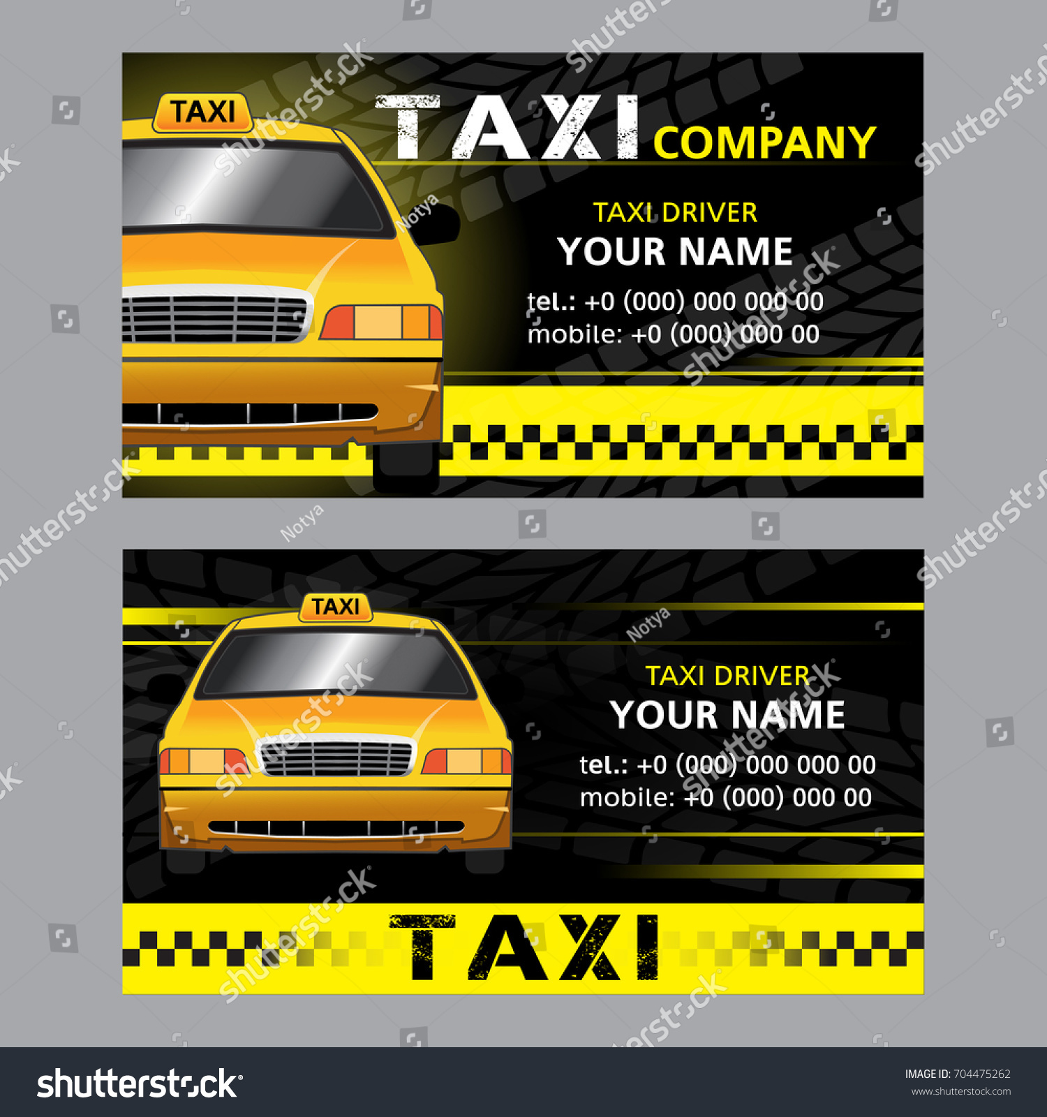 2 types of one way business cards for the taxi company - Taxi Business Cards