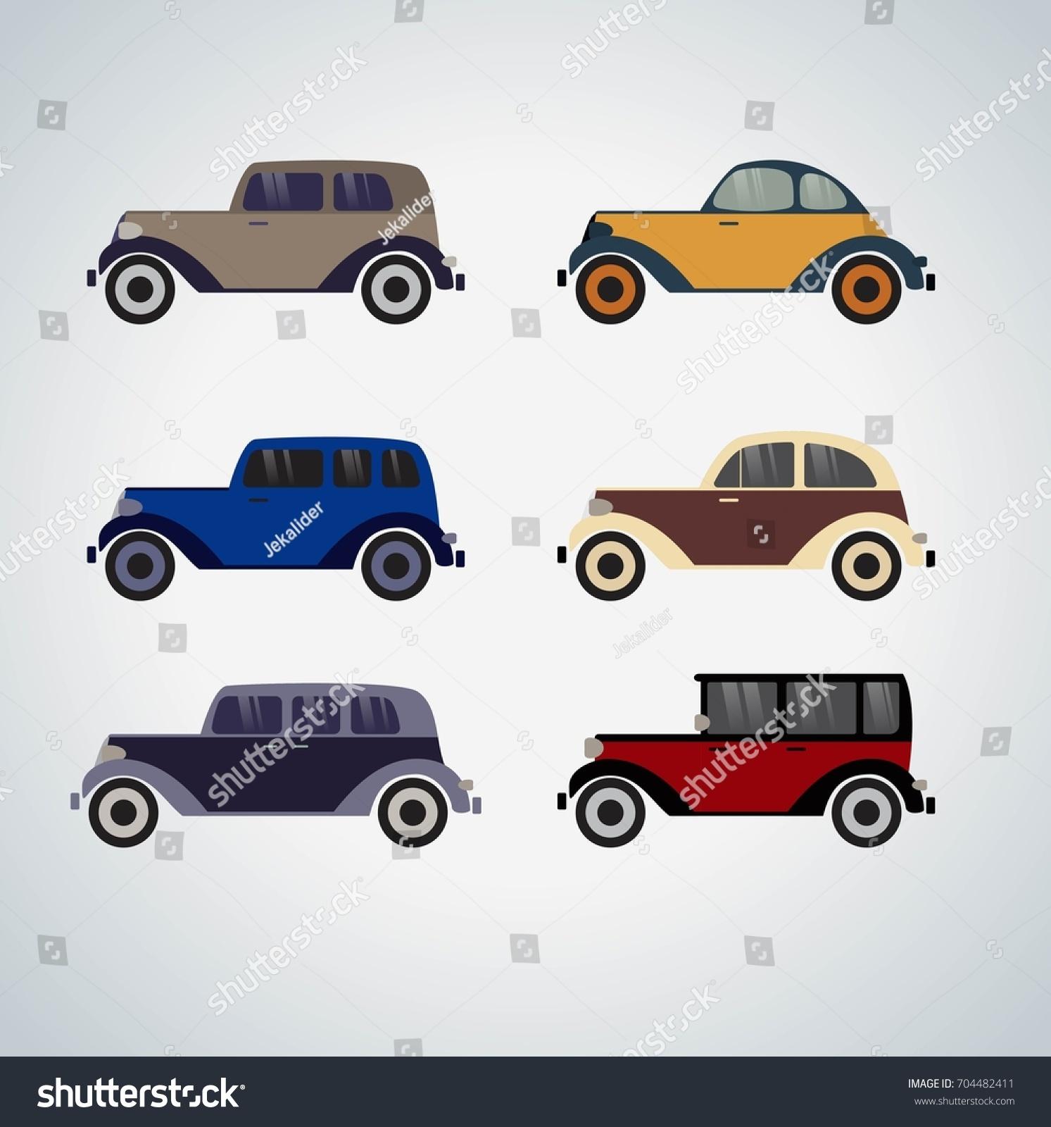 Vintage Cars Cartoon Sketch Vector Abstract Stock Vector 704482411 ...