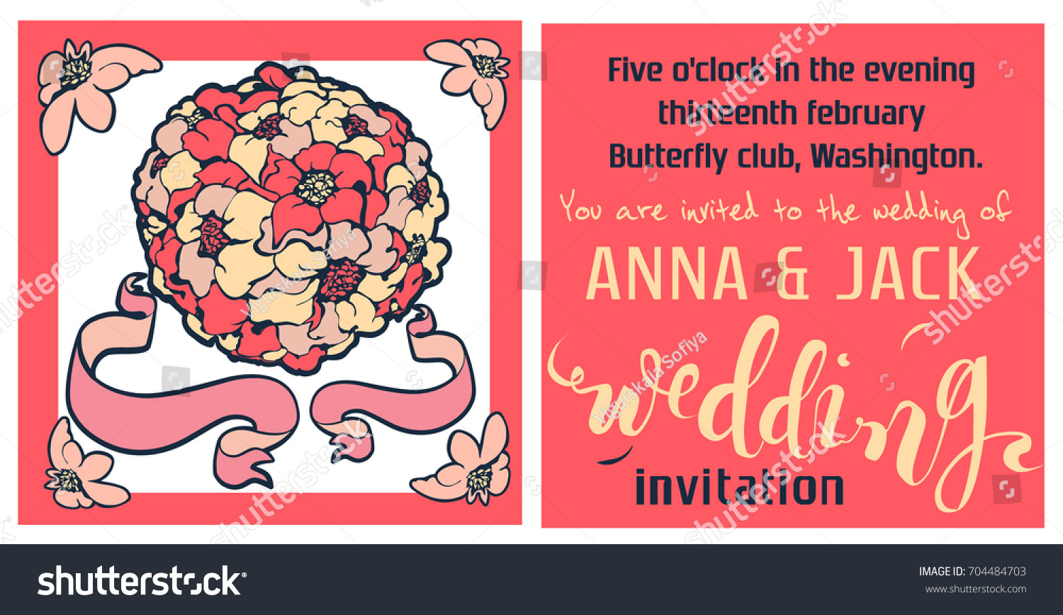Wedding Invitation Card Template Bouquet Flowers Stock Vector ...