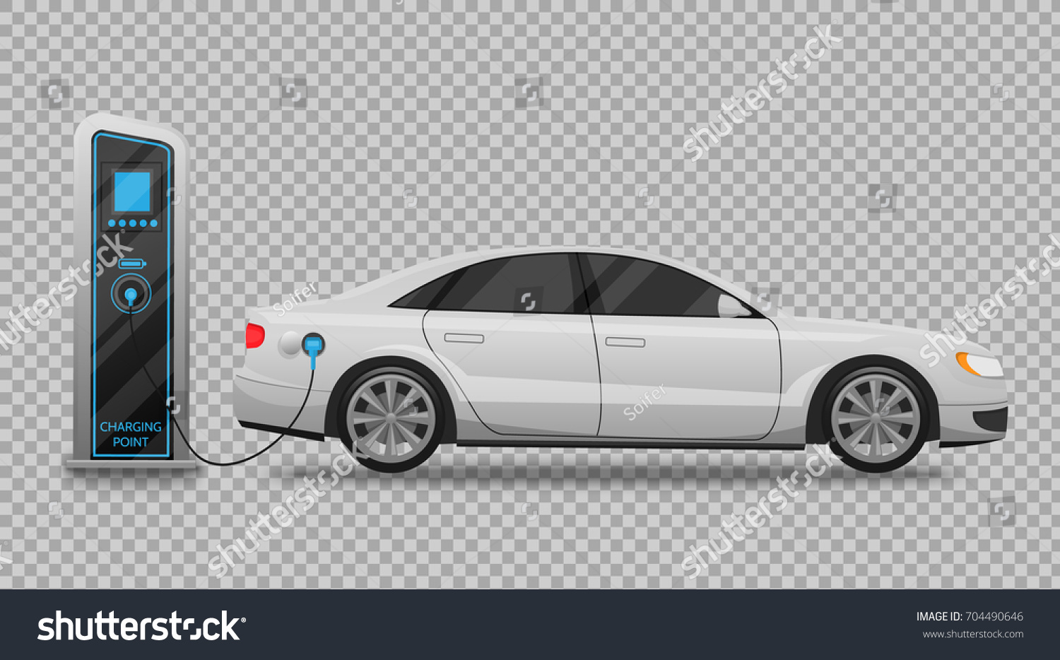 Electric Car Charging Station Banner Isolated Stock Vector Royalty