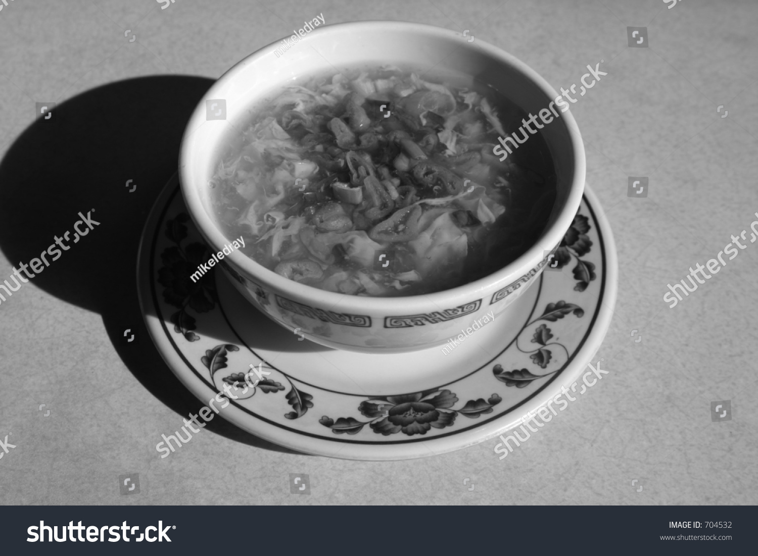 Egg Flower Soup In A Chinese Restaurant In Black And White Stock