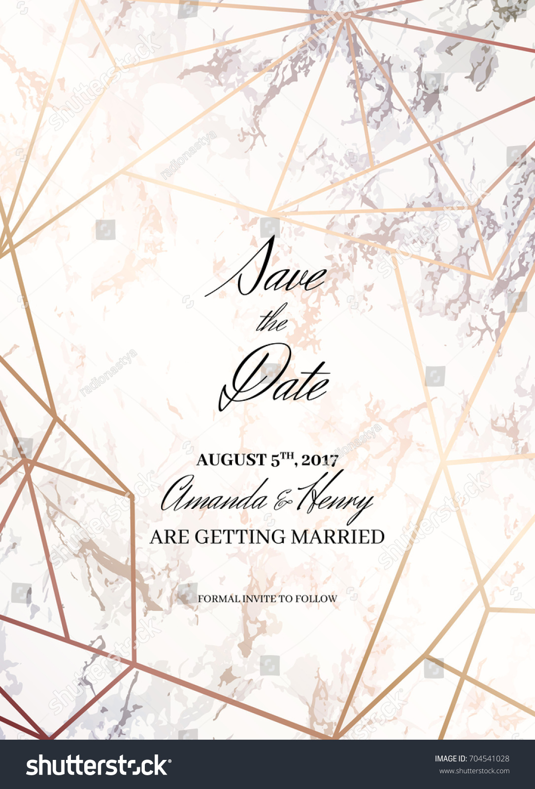 Save date design template formal invite stock vector 704541028 formal invite to follow marble background and rose gold stopboris Image collections