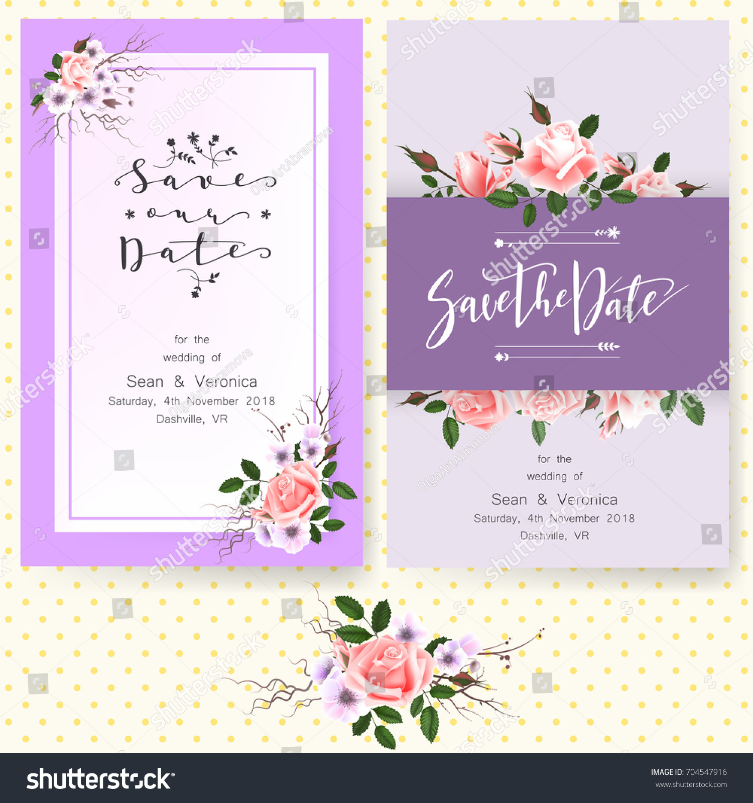 Save Date Card Wedding Invitation Greeting Stock Vector 704547916 ...