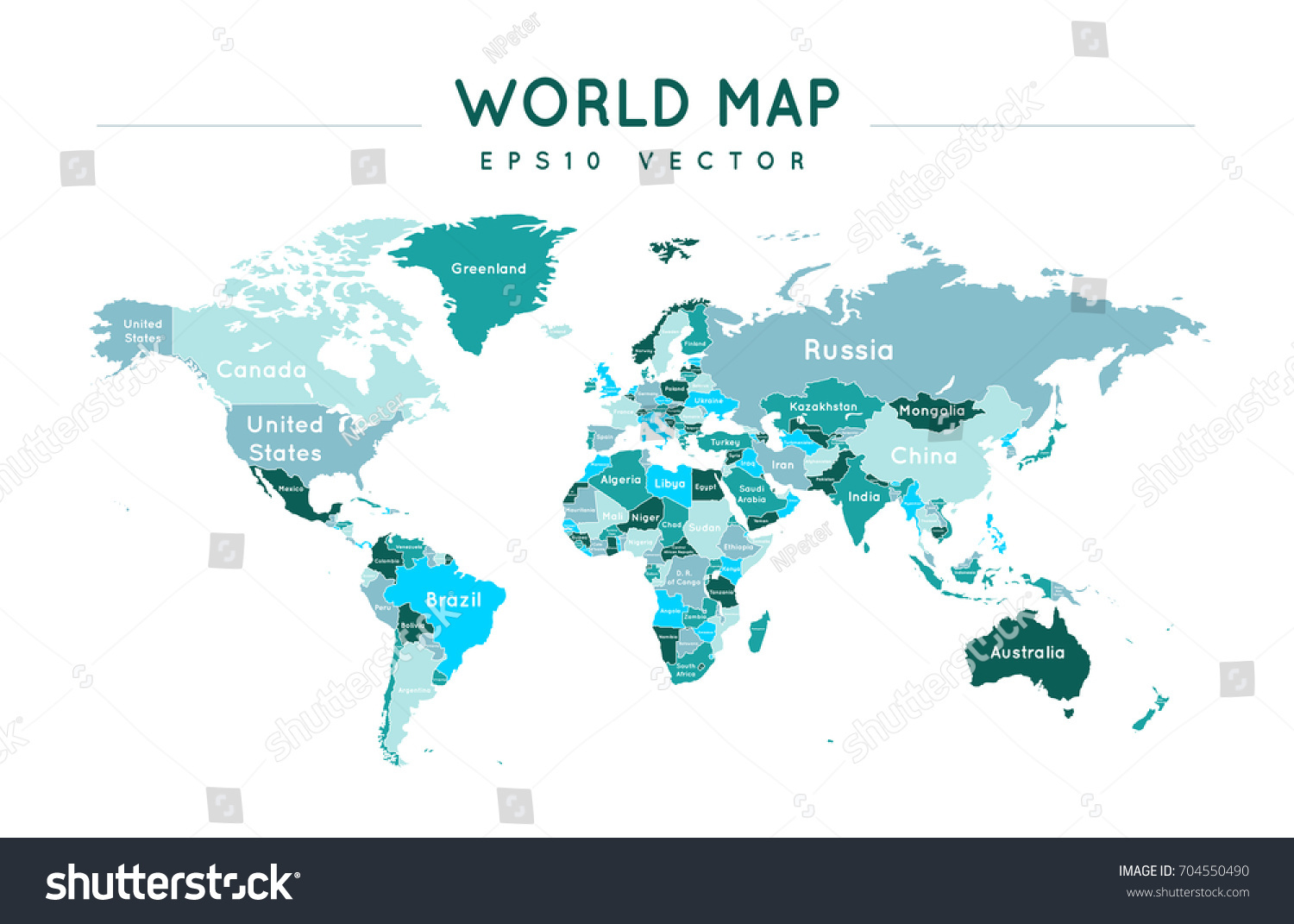 Political world map name borders countries stock vector 704550490 political world map with the name and borders of the countries gumiabroncs Images