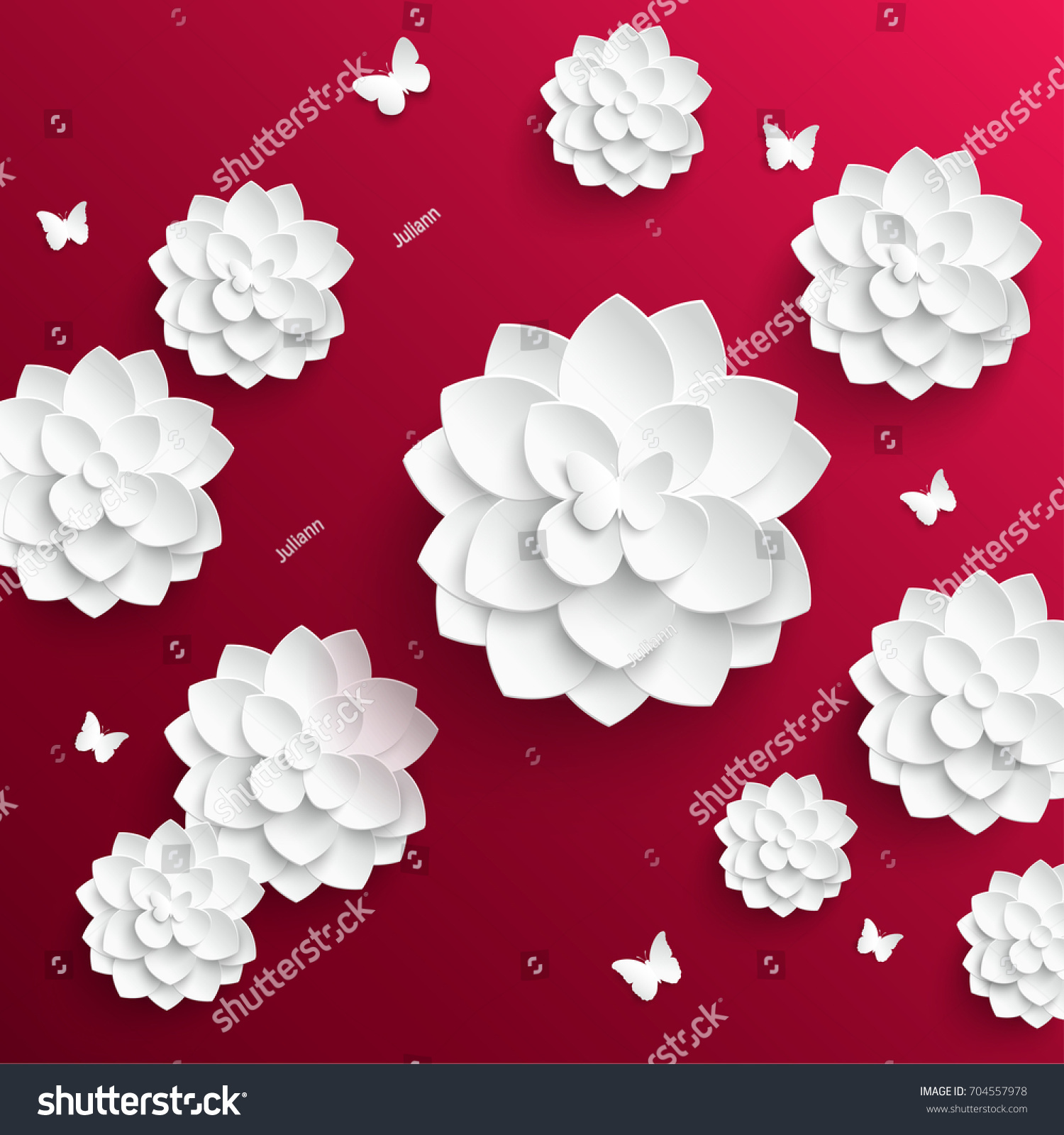 Paper Flower Lotus Cut Paper Wedding Stock Vector Royalty Free