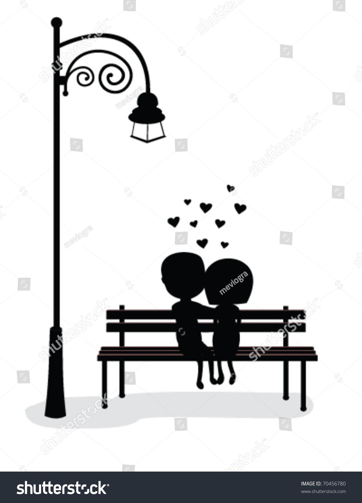 Silhouette Boy Girl Sitting On Bench Stock Vector 70456780 ... for Bench Silhouette Side  35fsj
