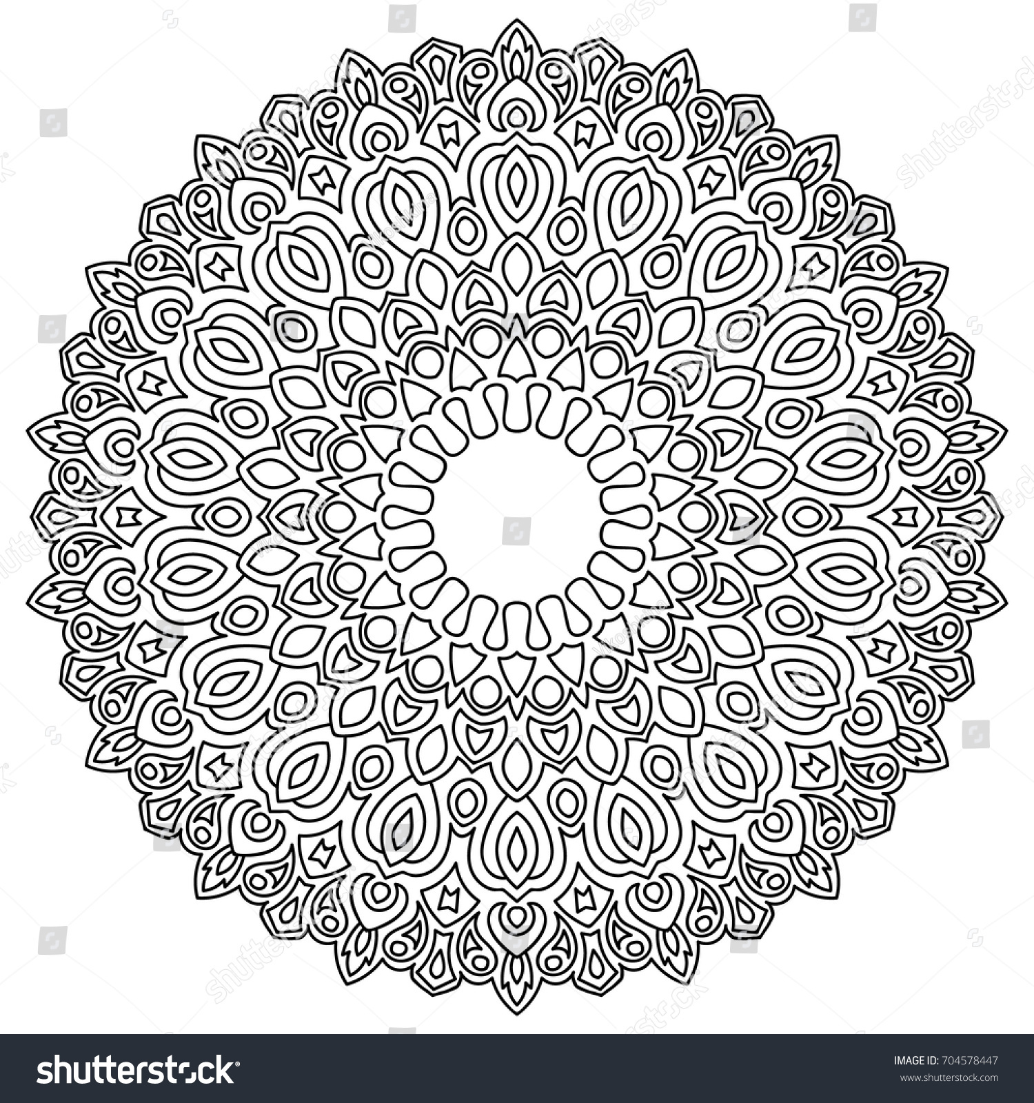 Ethnic Print Adult Coloring Page Mandala Stock Vector