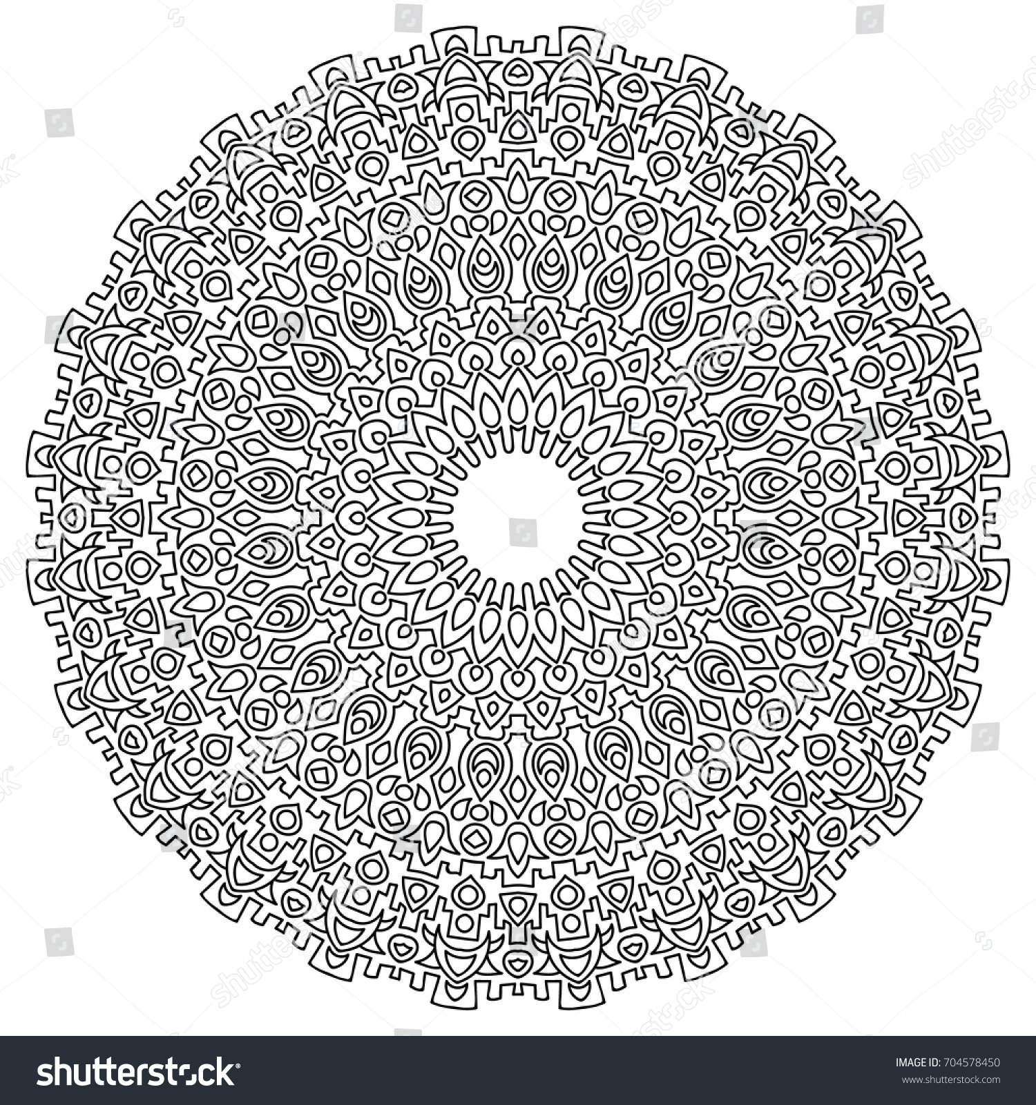 Adult Coloring Page Outline Mandala Black Stock Vector 704578450 ...