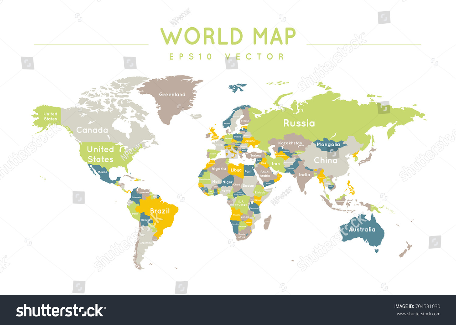 Colorful political world map name borders stock vector 704581030 colorful political world map with the name and borders of the countries gumiabroncs Images
