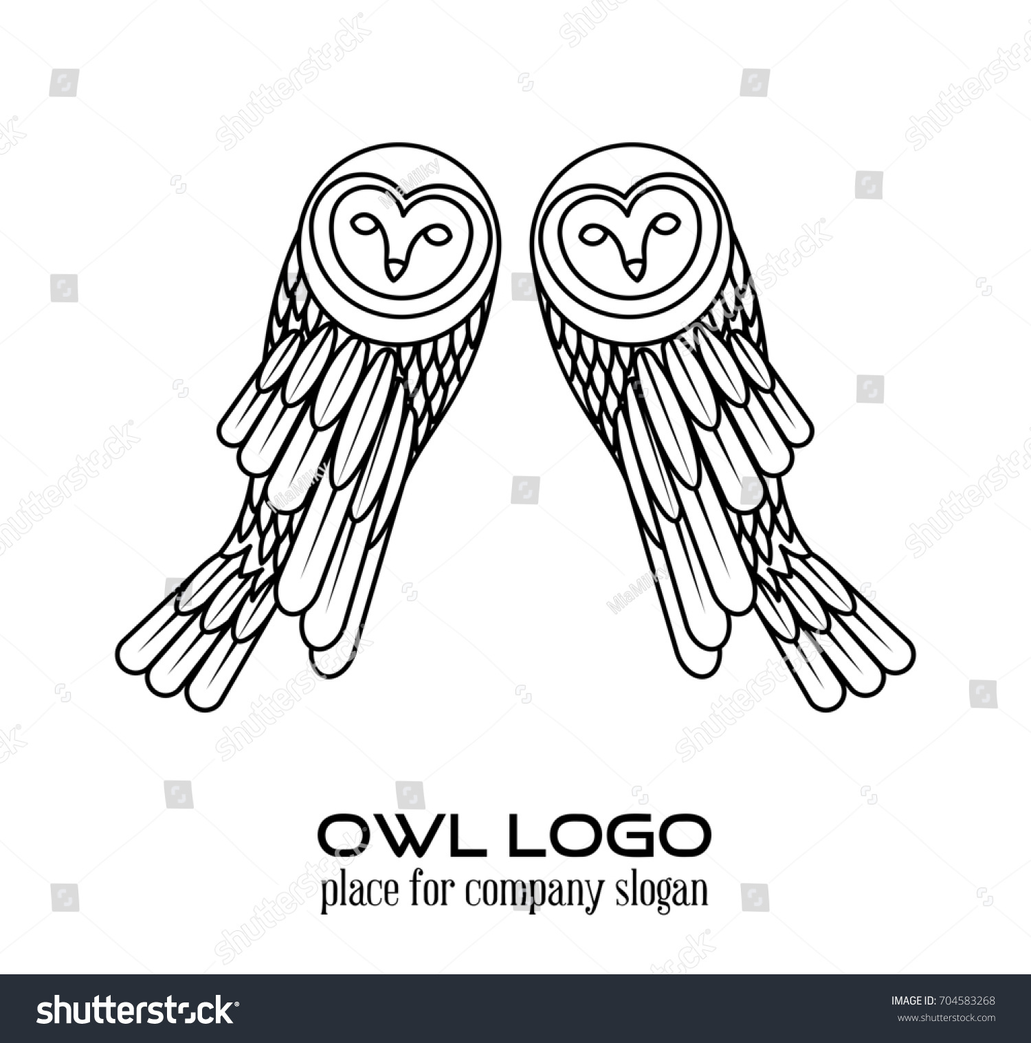 owl logo lineart template line art thin stock illustration 704583268