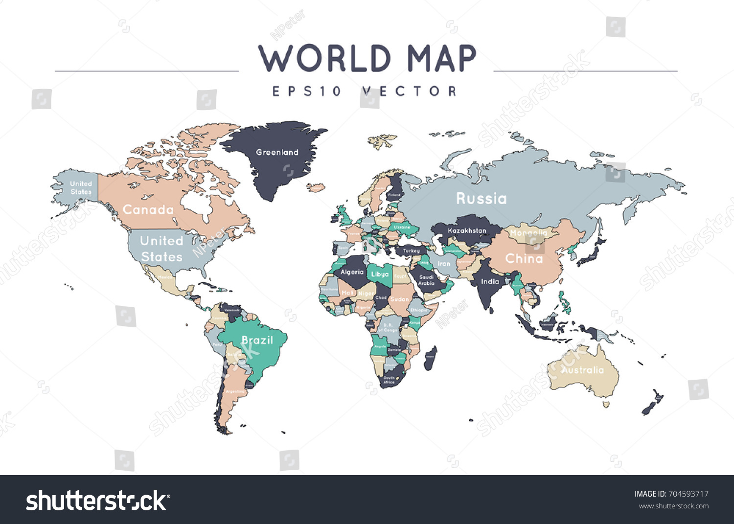 Colorful political world map name borders stock vector 704593717 colorful political world map with the name and borders of the countries gumiabroncs Images