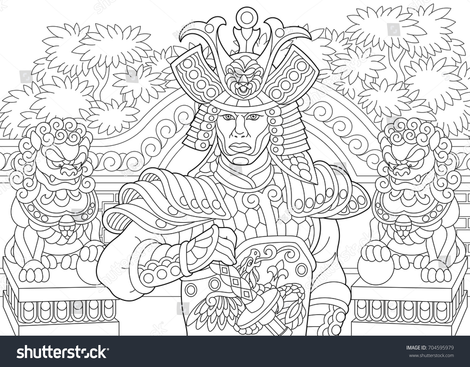 Coloring Page Of Japanese Samurai With Lion Statues On The Background Freehand Sketch Drawing For