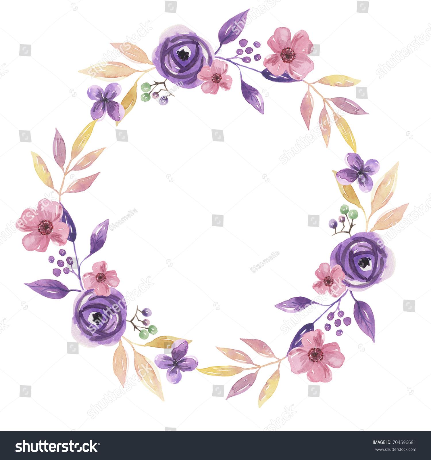 Watercolor purple pink flower wreath summer stock illustration watercolor purple pink flower wreath summer floral garland hand painted mightylinksfo