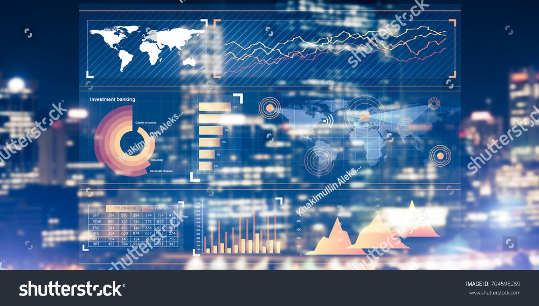Virtual Panel Graphs Diagrams Amazing Night Stock Photo (Edit Now ...