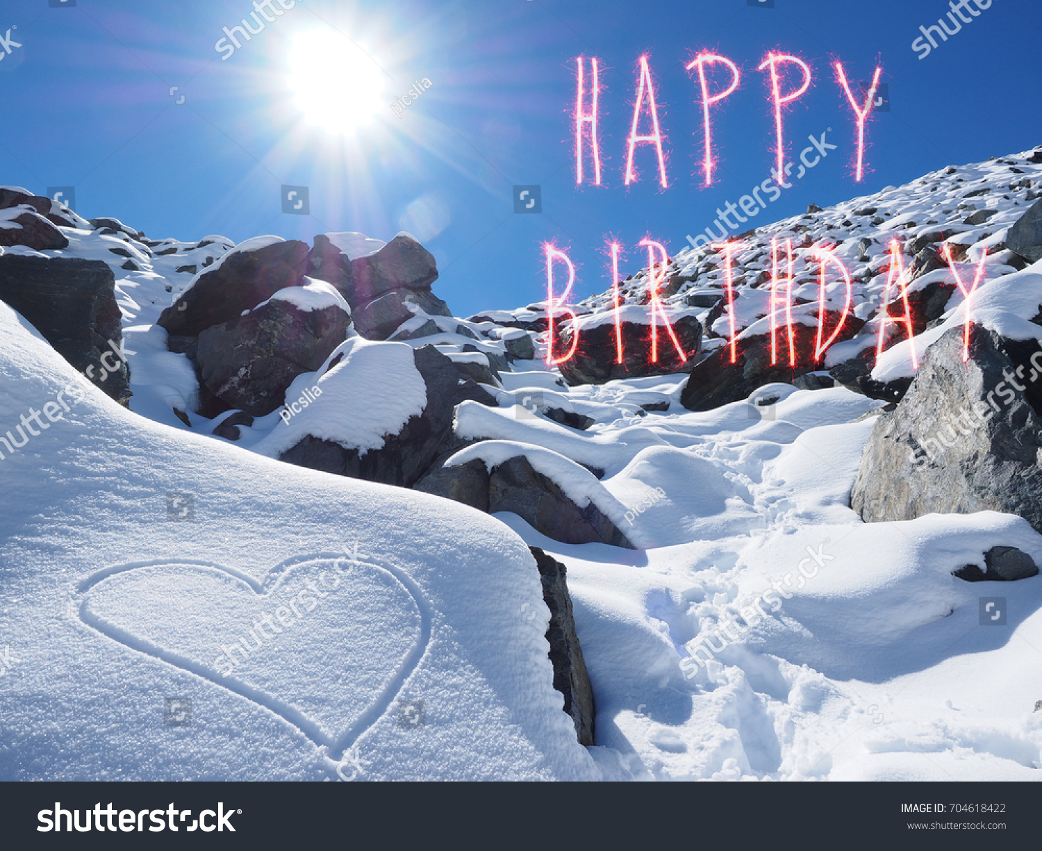 Happy birthday greeting card on snow stock photo 704618422 happy birthday greeting card on the snow with sun on the sky kristyandbryce Image collections