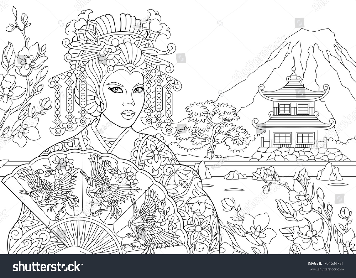 Big Abstract Coloring Pages : Coloring page geisha japanese dancing actress stock vector