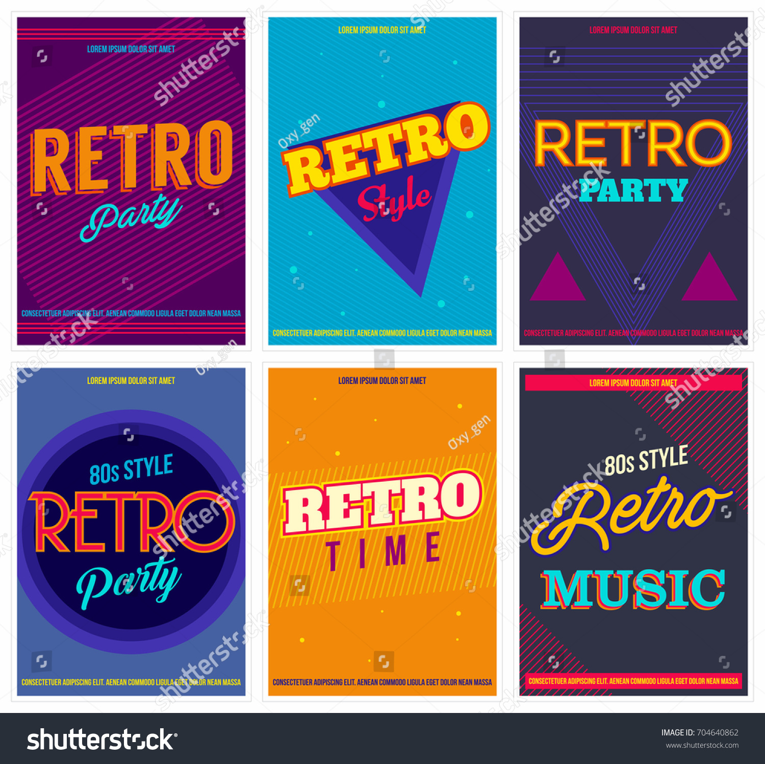 Retro Party Posters Set Vector Illustration Stock Vector 704640862 ...