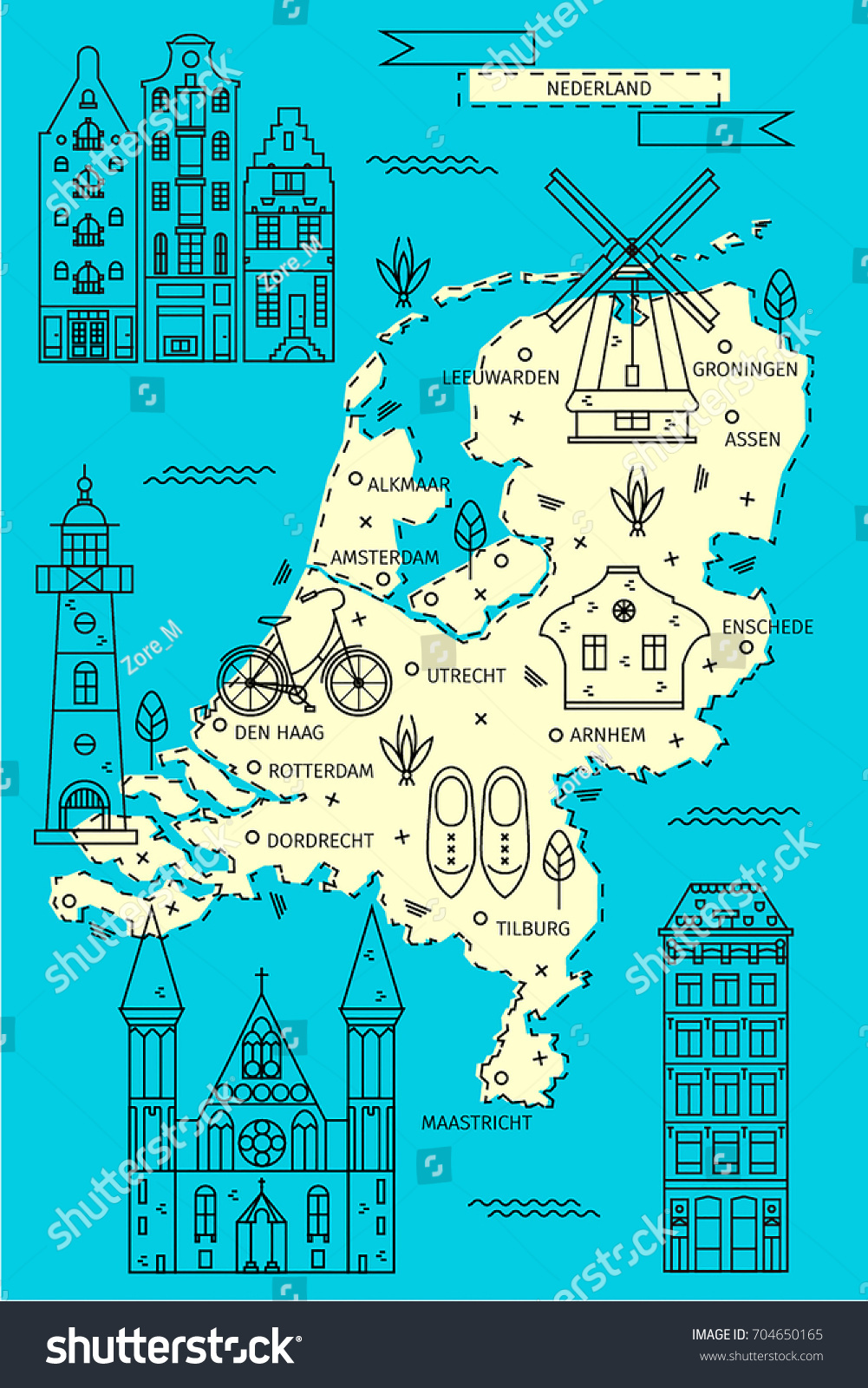 Netherlands Map Flat Line Design Toprated Stock Photo Photo Vector