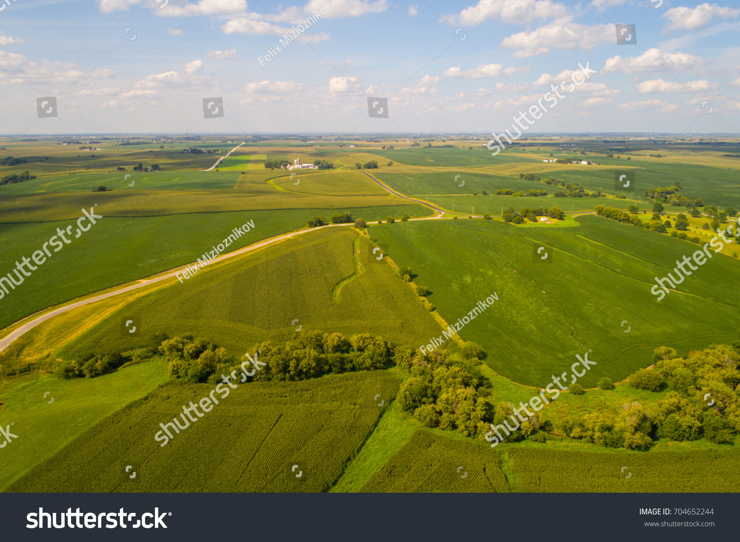 Aerial drone image of farmland landscape in Iowa USA