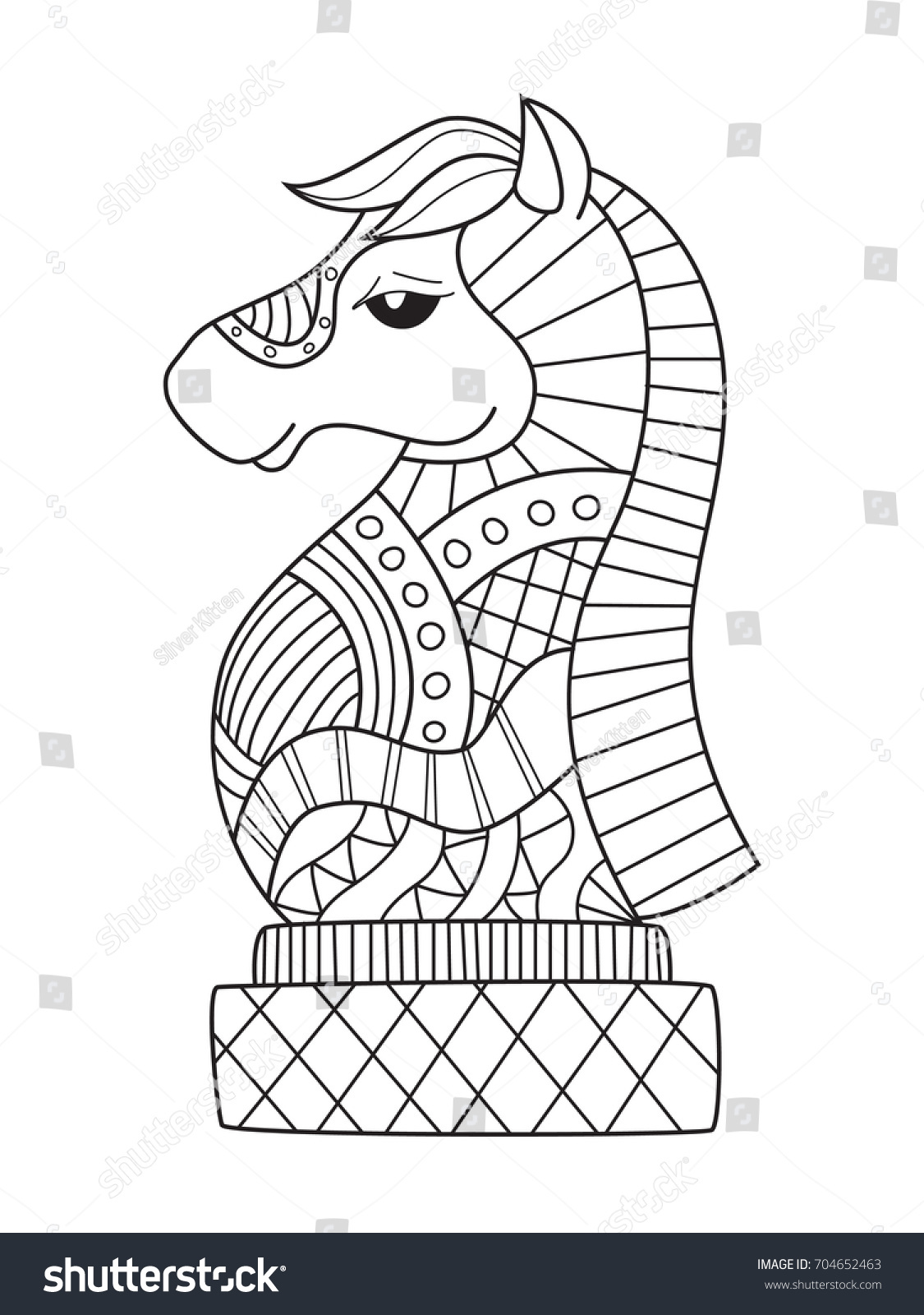 stock vector outlined doodle anti stress coloring book page chess knight for adults and children