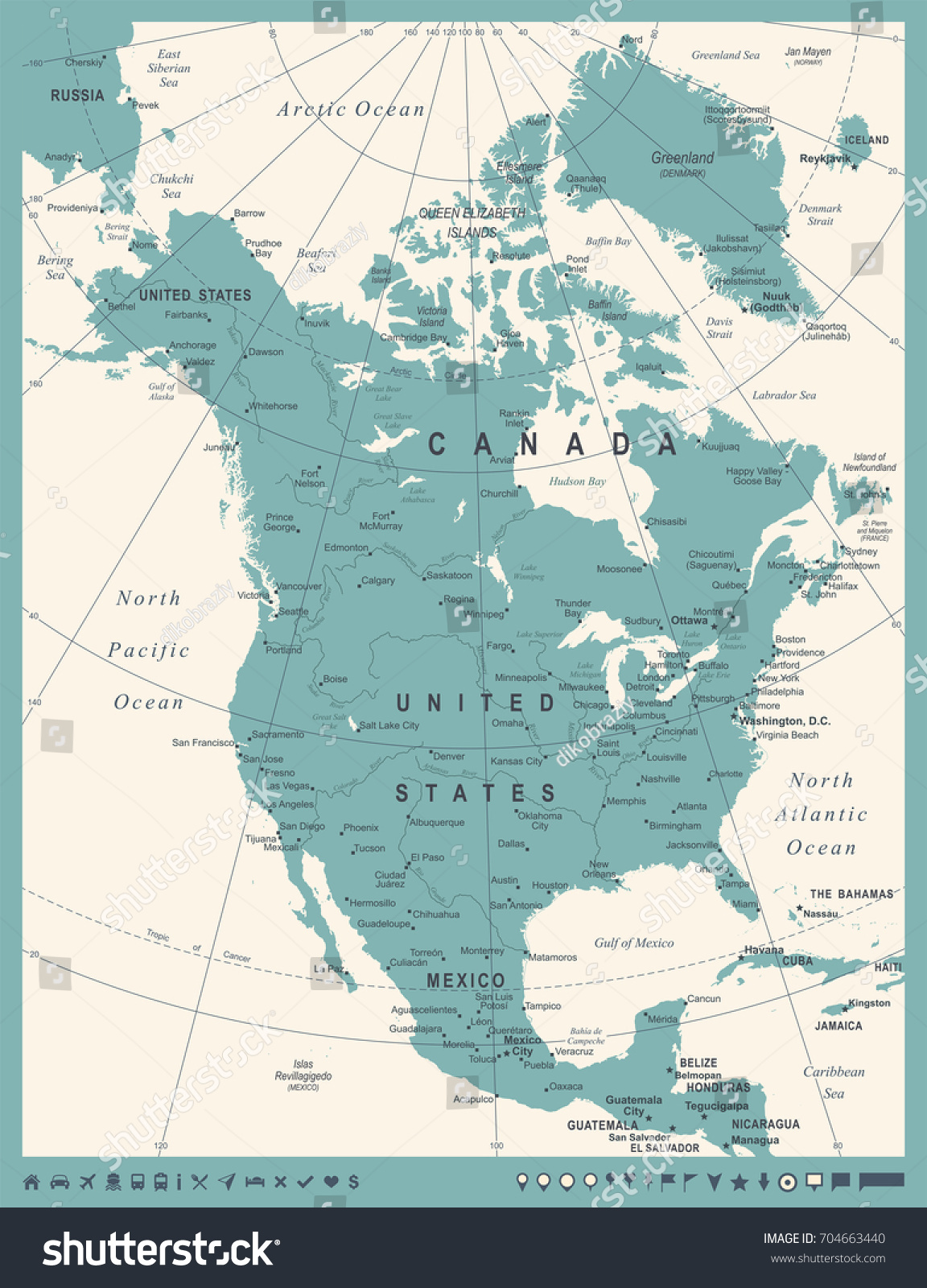 North America Map Vintage Detailed Vector Stock Vector - North america map el salvador