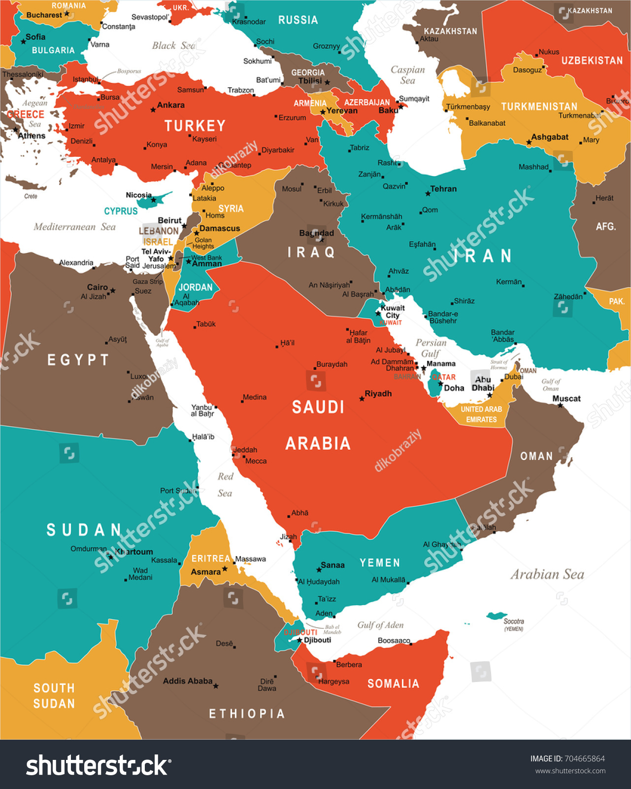 Middle East Map Detailed Vector Illustration Stock Vector