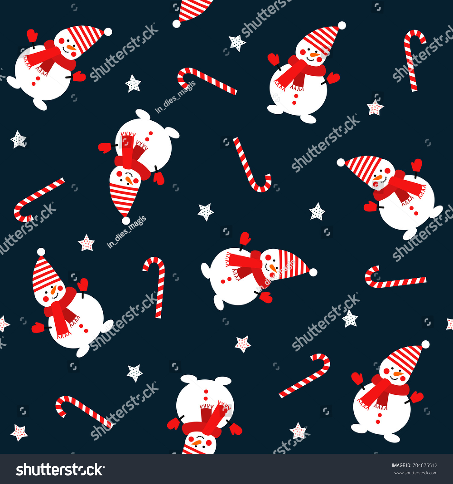 stock vector snowman with candy cane and stars seamless pattern on dark blue background vector holidays 704675512