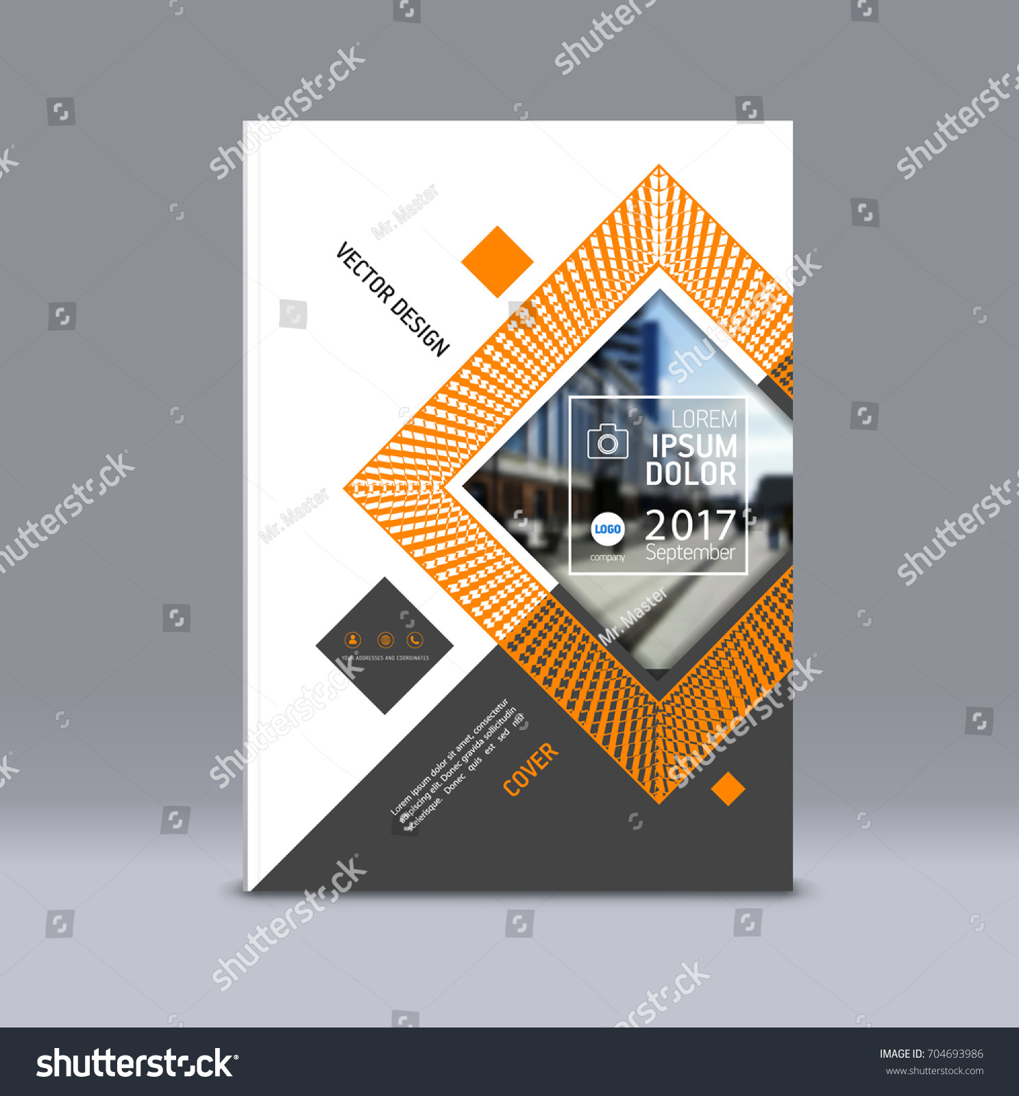 Cover Design, Corporate Brochure Template, Magazine And Flyer Layout.  Annual Report. Geometric