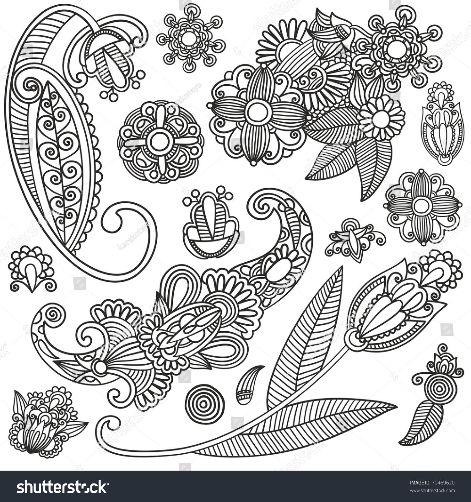 Set Of Black Flower Design Elements Stock Vector: Set Of Black Flower Design Stock Vector Illustration