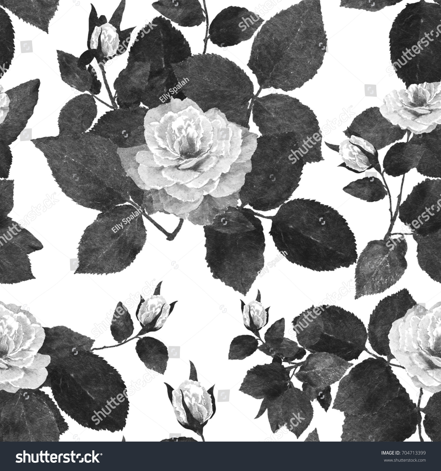 Digital Painting Monochrome Roses Seamless Pattern Pastelwatercolor ...