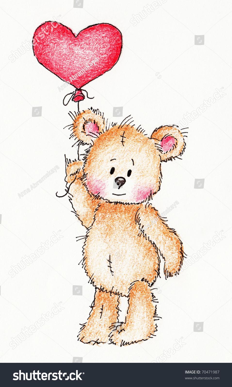 Cute Teddy Bear Red Heart Balloon Stockillustration 70471987 ...
