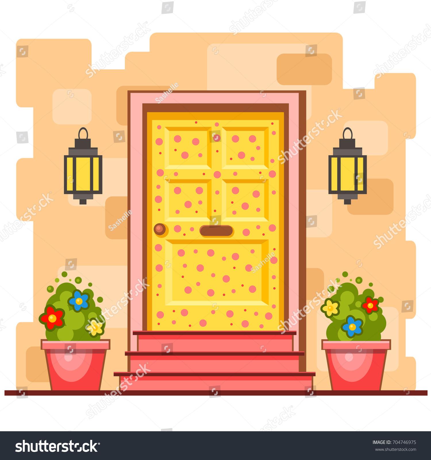Yellow Front Door Pink Spots On Stock Vector 704746975 - Shutterstock