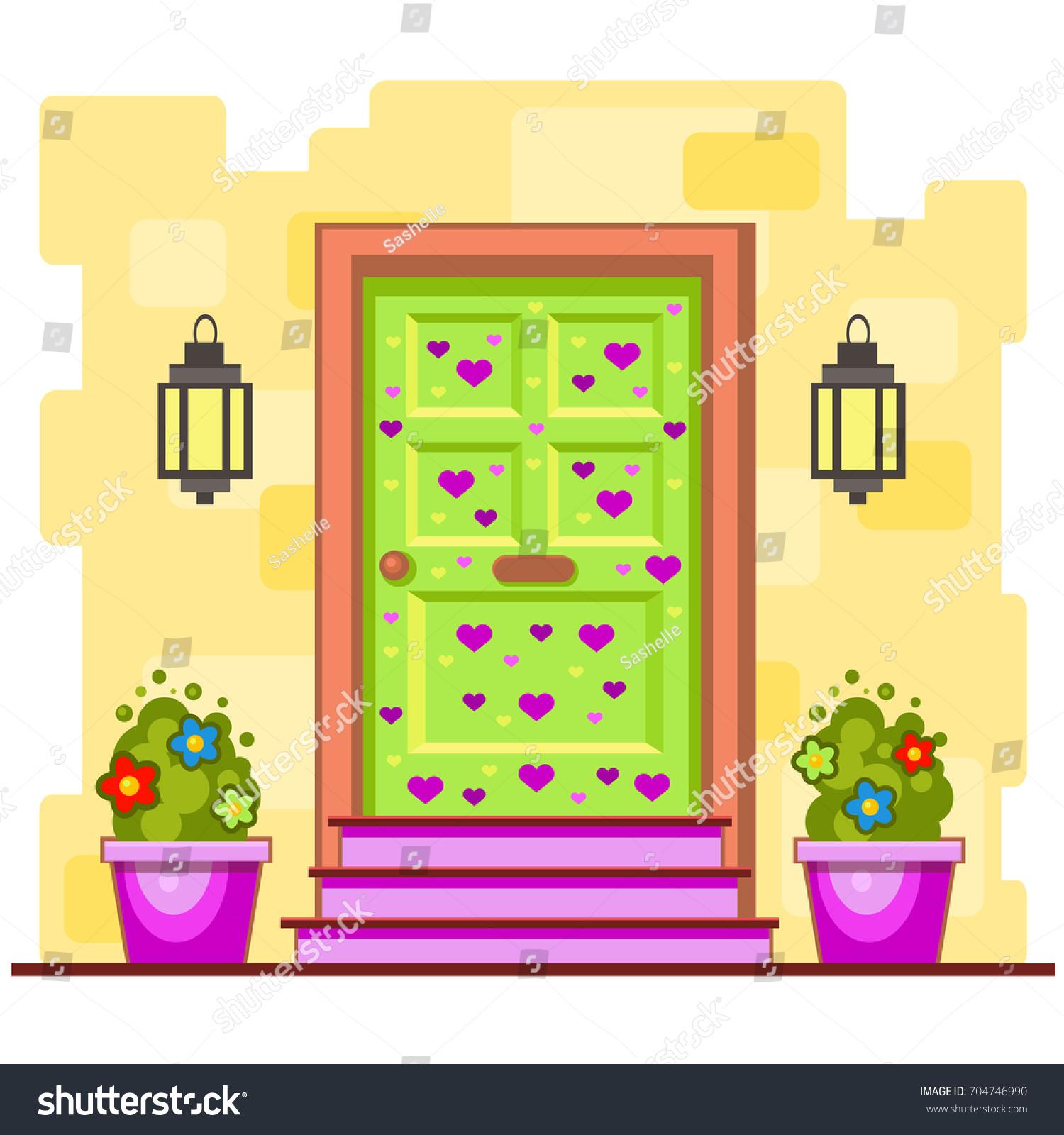Green Front Door Violet Hearts On Stock Vector 704746990 - Shutterstock