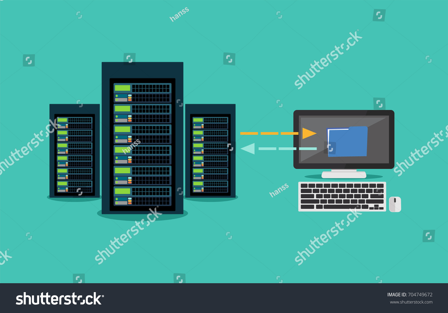 Migration Backup Concept Copying File Server Stock Vector