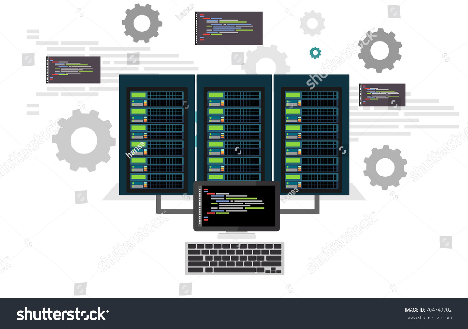 Network Engineers Working Server Room Hardware Stock Vector