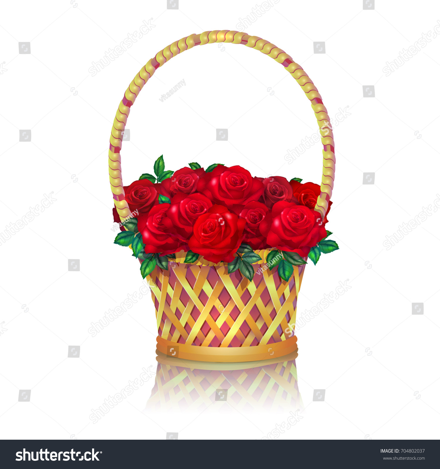 Basket Bouquet Red Roses White Background Stock Vector 704802037 ...