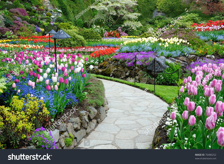 Butchart garden spring victoria british columbia stock for Gardening tools victoria bc