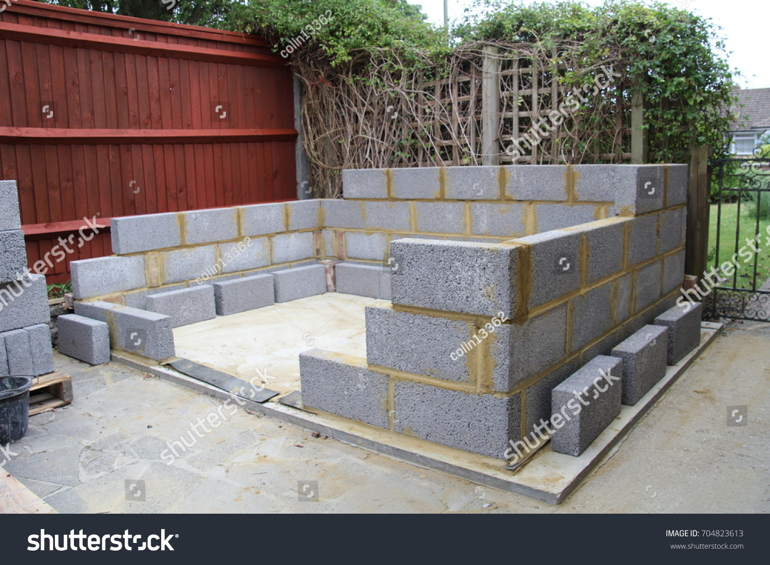 Construction Garden Shed Made Concrete Blocks Stock Photo Edit Now 704823613