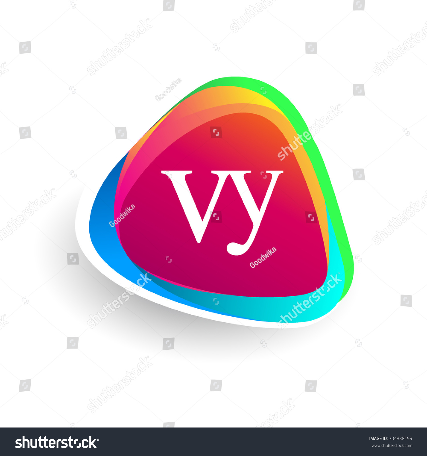 Letter VY Logo Triangle Shape Colorful Stock Vector (Royalty Free ...