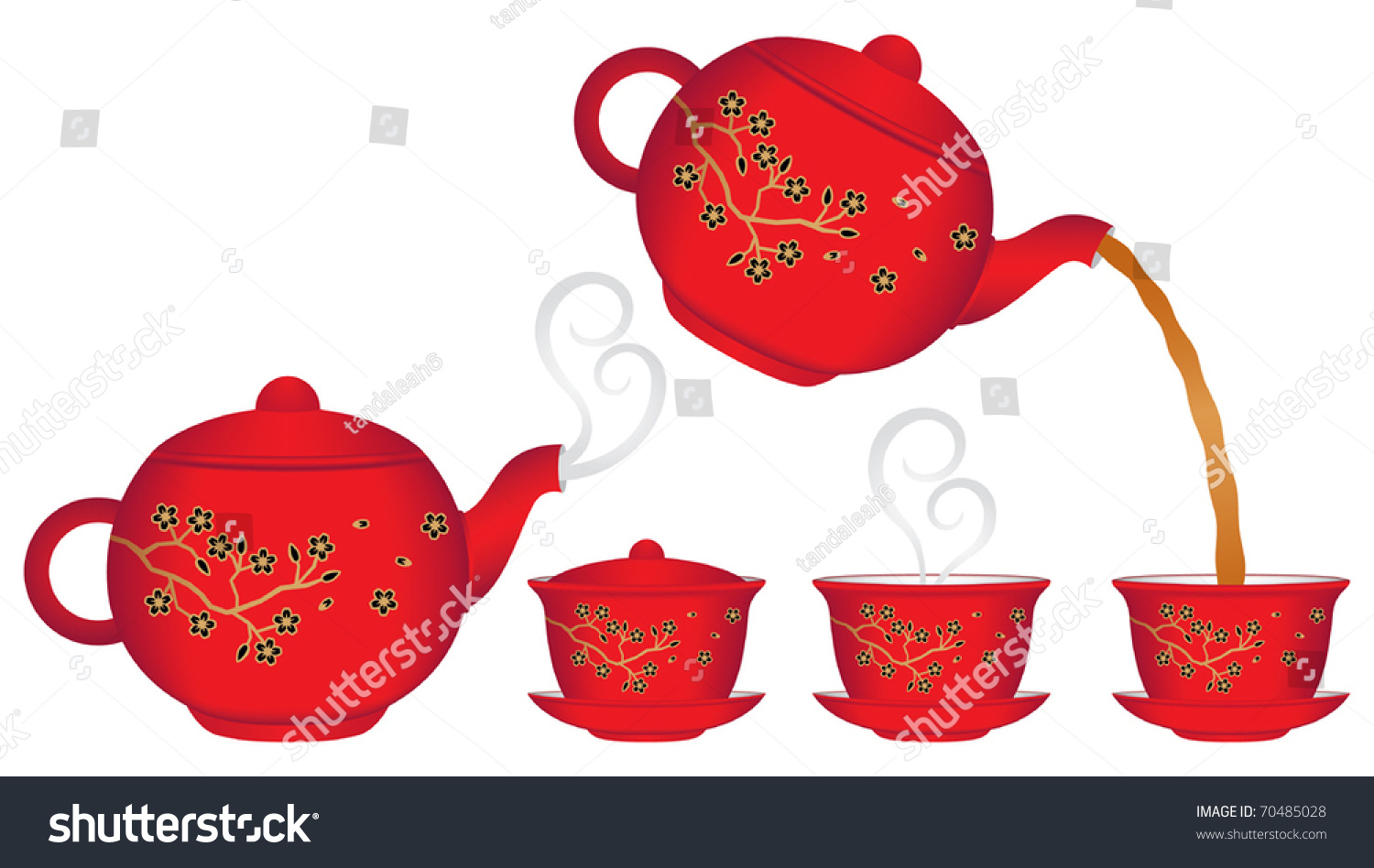 Chinese Teapot And Teacup Collection Vector - 70485028 ...