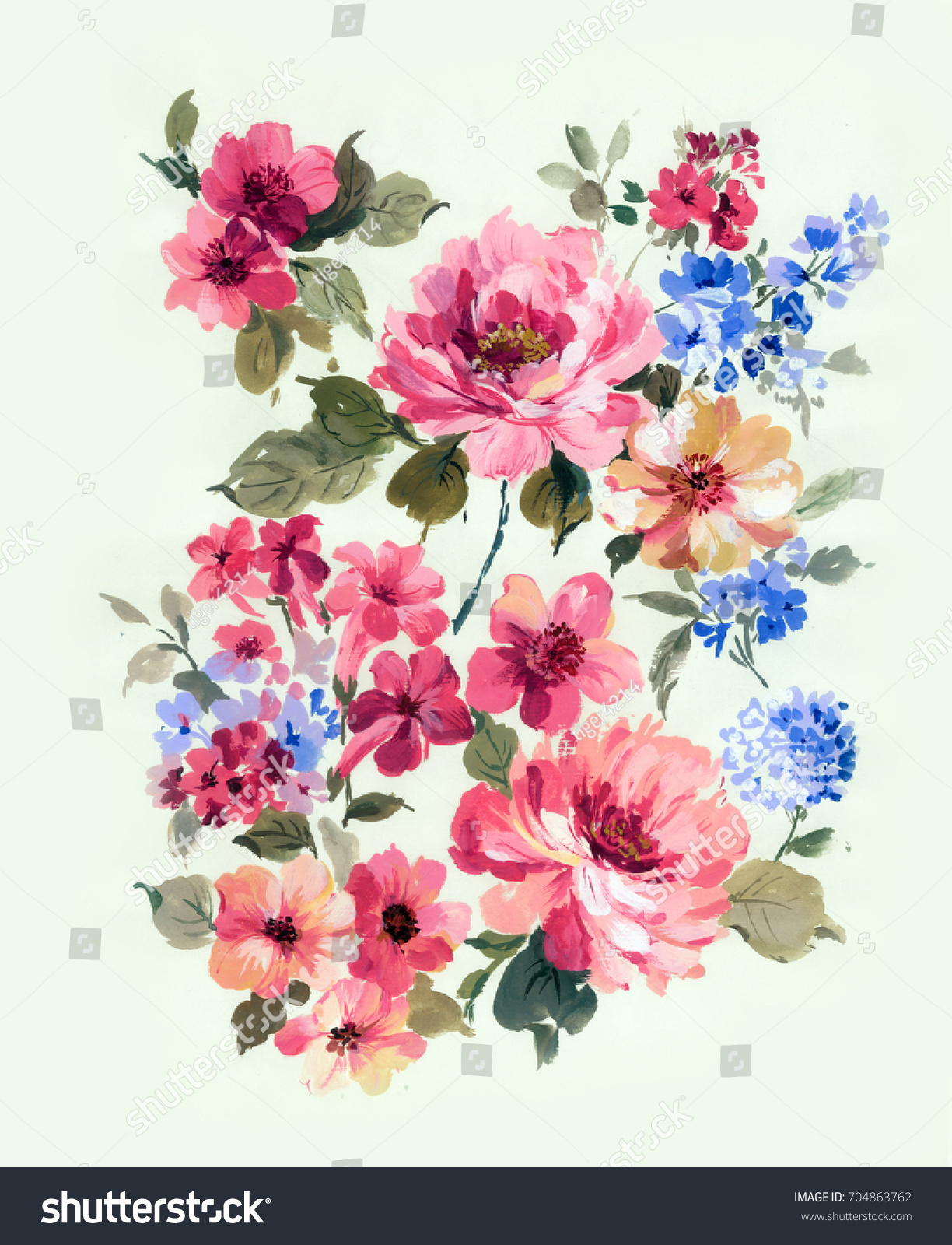 Enthusiasm Bold Unrestrained Flowers Leaves Flowers Stock