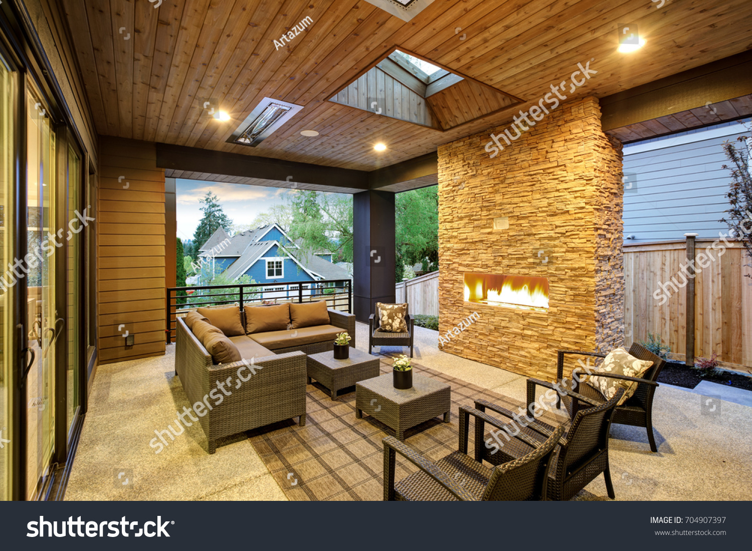 Covered Patio Designs With Fireplace. Dreamy Outdoor Covered Patio With  Stone Fireplace, A Beadboard