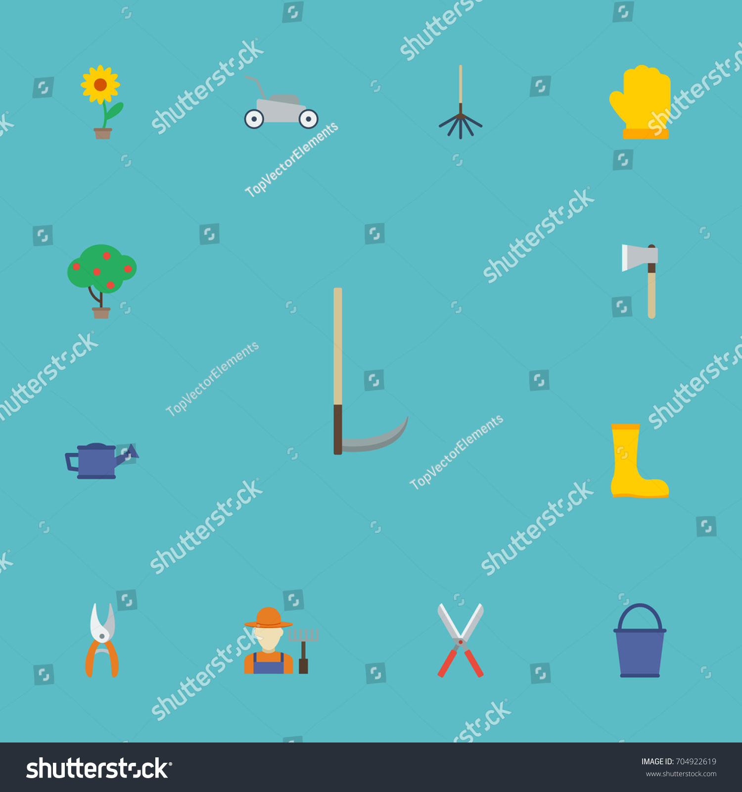 Flat icons latex cutter grower other stock vector 704922619 flat icons latex cutter grower and other vector elements set of gardening flat biocorpaavc