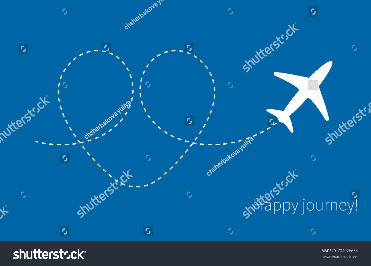 Banner happy journey white plane trace stock vector 704926654 white plane with trace in form of heart on blue sky background thecheapjerseys Image collections